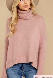 Red Dress Boutique Pink Turtleneck Sweater